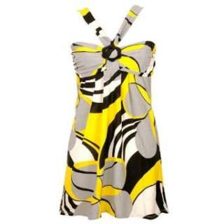 Yellow Black White Gray Halter Top Dress Clothing