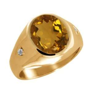 Oval Champagne Quartz and White Diamond 14k Yellow Gold Ring Jewelry