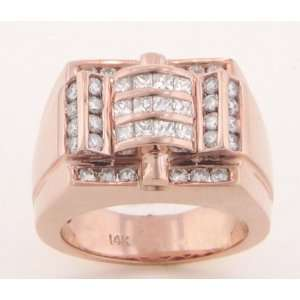 14KT. ROSE GOLD MENS DIAMOND RING 1.65cttw.   8.5
