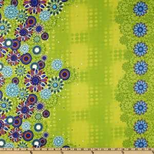 44 Wide Carnival Flowers & Dots Green Fabric By The Yard