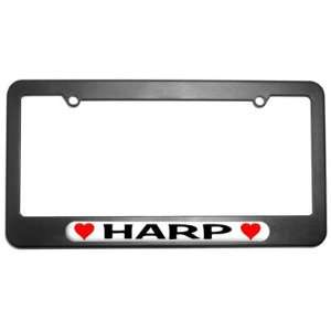 Harp Love with Hearts License Plate Tag Frame Automotive