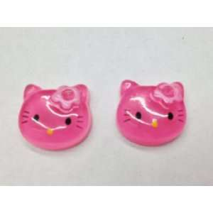 10pc Hot Pink Kitty Cat Flat Back Resin Cabochons Npk89