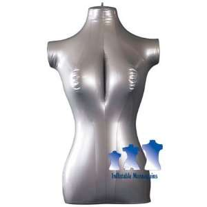 Inflatable Mannequin, Female Torso, Mid Size Silver, Narrow Hips