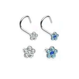 cz Flower Nose Screw Surgical Steel piercing ring rings 18g 18 gauge