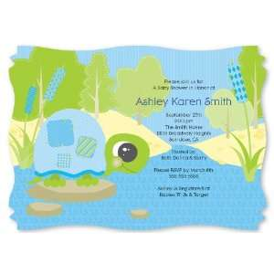 Baby Turtle   Personalized Baby Shower Invitations With Squiggle Shape