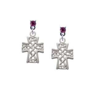 Criss Cross Patterned Cross Hot Pink Swarovski Post Charm