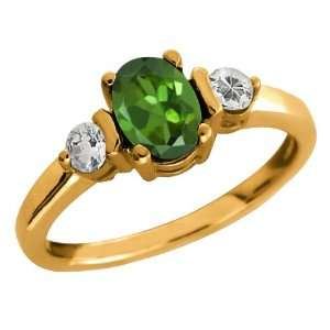 Ct Oval Green Tourmaline and White Topaz 10k Yellow Gold Ring Jewelry