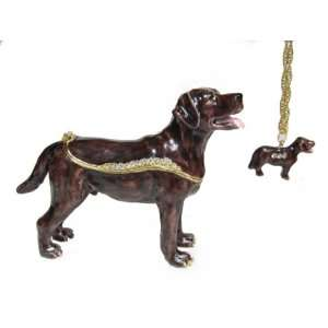 Brown Labrador Retriever Dog Bejeweled Trinket Box