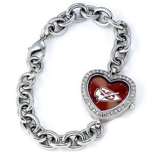 Kansas City Chiefs NFL Silver Rhinestone Ladies Heart