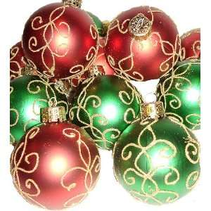 Set of 12 Red Green Decorated Shatterproof Ball Christmas Ornaments 2