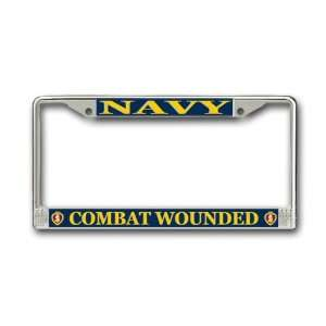 US Navy Combat Wounded Purple Heart License Plate Frame