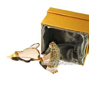 Singing Penguin Bird Trinket Box w/Swarovski crystals sparkling