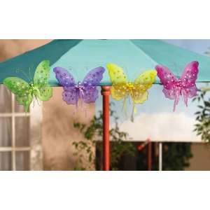 4 Multi Color Nylon Butterfly Garden Decorations By