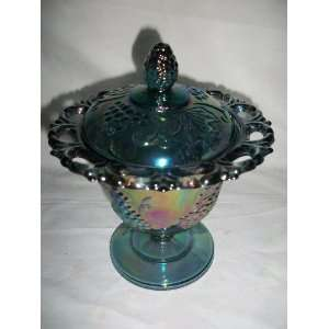 Vintage Indiana Blue Carnival Glass Harvest Grape Covered Candy Dish