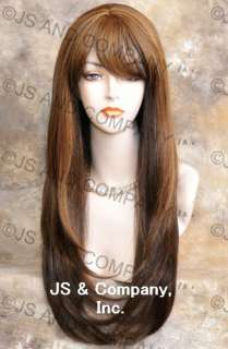 Human Hair Blend Long Straight Brown Mix Wig Hair