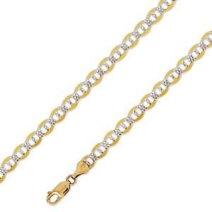 14K Solid Yellow 2 Two Tone Gold Mariner Chain Necklace 6