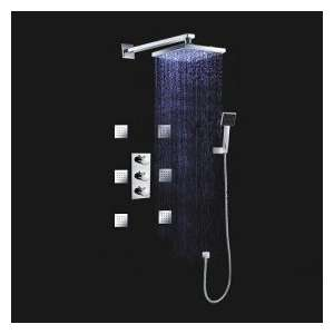 LED Wall Mount Thermostatic Shower Faucet with BodySprays